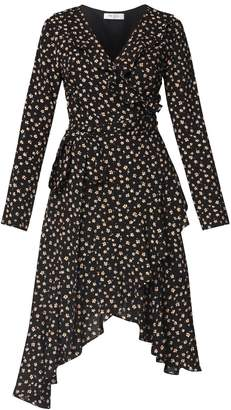 PAISIE - Floral Frill Wrap Dress With Asymmetric Hem