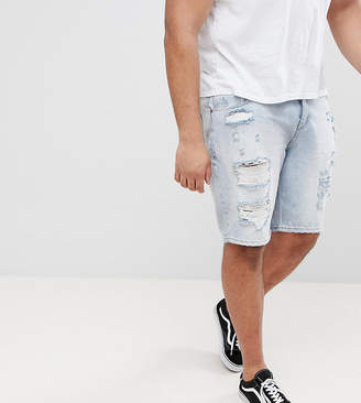 Asos PLUS Denim Shorts In Slim Light Wash With Heavy Rips