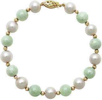 JCPenney FINE JEWELRY 14K Yellow Gold Cultured Freshwater Pearl & Dyed Green Jade Bracelet