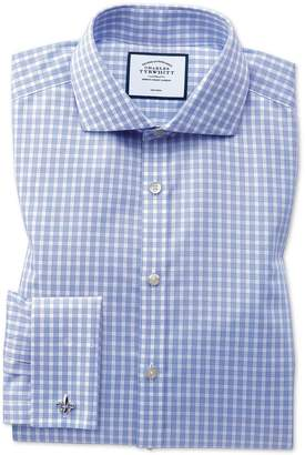 Charles Tyrwhitt Slim Fit Non-Iron Twill Sky Blue Gingham Cotton Dress Shirt French Cuff Size 15/33