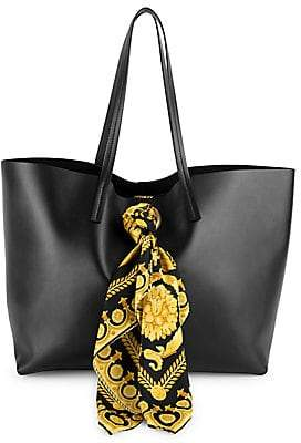 302a5cbc67 Versace Women s Barocco Print Scarf Leather Tote Bag