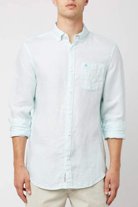 Original Penguin Long Sleeve Linen Woven Shirt