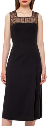 Akris Square-Neck Godet-Pleated Dress, Black