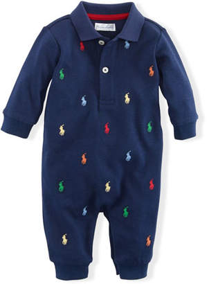 Ralph Lauren Childrenswear Logo Embroidery Polo Coverall, Size 3-12 Months