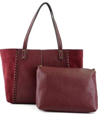 ShopGoldies Burgundy Vegan-Leather-Suede Stitched-Purse