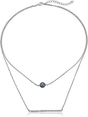 Swarovski Platinum-Plated Sterling Zirconia Tahitian Cultured Pearl Bar Pendant Necklace