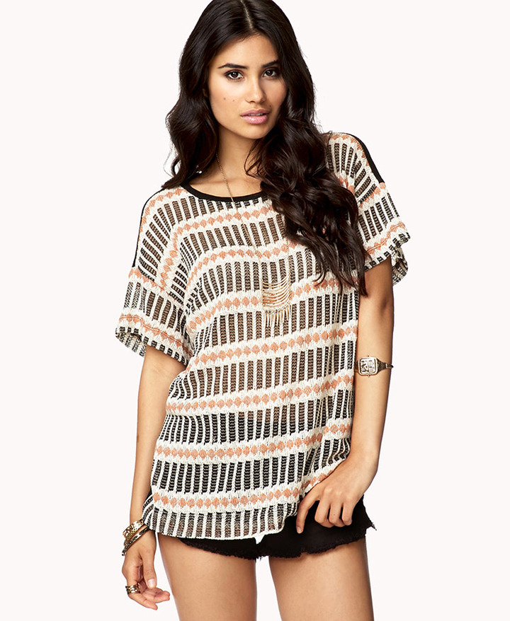 Forever 21 Geo Striped Sweater