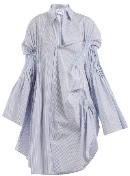 Asymmetric pintucked cotton shirtdress