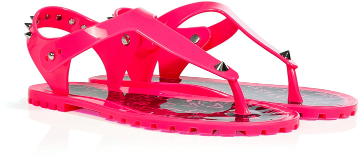 Marc by Marc Jacobs Neon Pink Rubber Studded Thongs