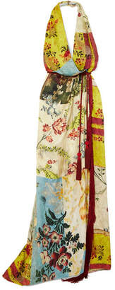 Oscar de la Renta Tasseled Printed Silk-jacquard Halterneck Dress - Yellow