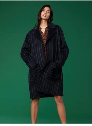 Diane von Furstenberg Collared Striped Coat