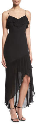Aidan Mattox Crepe & Chiffon Asymmetric-Hem Dress