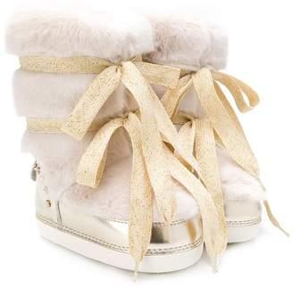 Elisabetta Franchi La Mia Bambina lace-up faux fur ankle boots