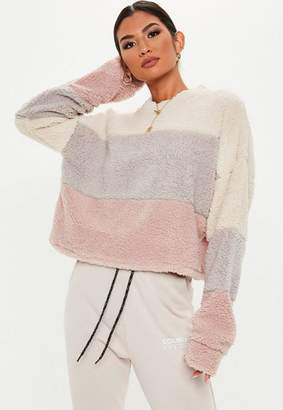 Missguided White Color Block Teddy Cropped Sweatshirt