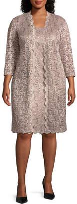 R & M Richards Long Sleeve Jacket Mid Length Dress - Plus