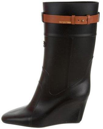 Sergio Rossi Rubber Wedge Rain Boots