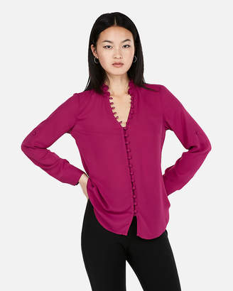 Express Slim Fit Ruffle Collar Portofino Shirt