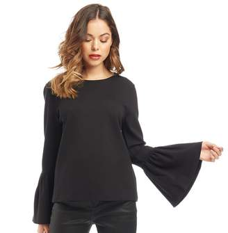 Ted Baker Womens Lolar Frilled Bell Sleeve Top Black