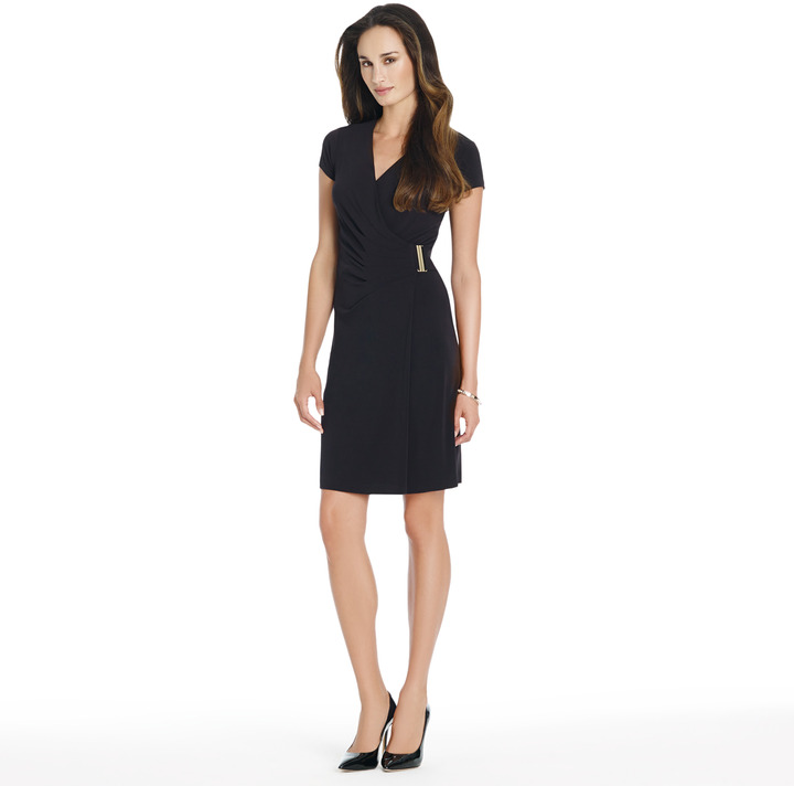 Jones New York Cap Sleeve Wrap Dress