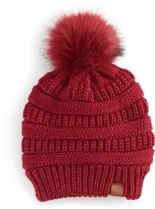 61f6615d78f So Women s SO Knit Lurex Pom Pom Beanie