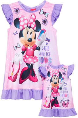 Minnie Mouse Graphic-Print Nightgown & Doll Nightgown, Toddler Girls