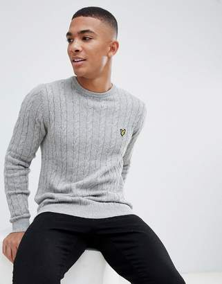 Lyle & Scott cable knit crew neck wool blend jumper in light grey