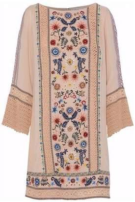 Alice + Olivia Crochet-Paneled Embroidered Gauze Mini Dress