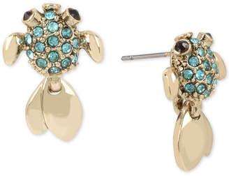 Betsey Johnson Gold-Tone Pavé Fish Stud Earrings
