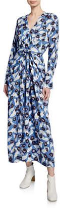 Christian Wijnants Darka Tie-Front Floral Long-Sleeve Dress