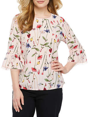 Liz Claiborne Secret Garden Womens Round Neck 3/4 Sleeve Blouse