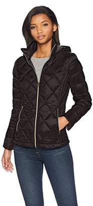 Lucky Brand Women's Short Packable Down Coat with Quilt Detail