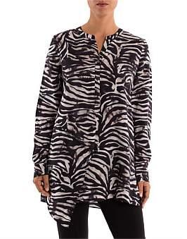 Ping Pong Zebra Print Long Line Shirt