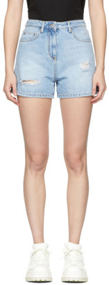MSGM Blue Denim Logo Shorts