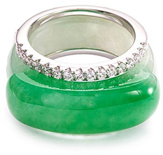 LC Collection Jade Diamond jade 18k white gold stackable ring
