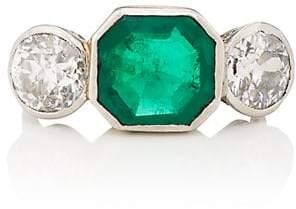 Stephanie Windsor Antiques Women's Emerald & White Diamond Art Deco Ring