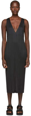Pleats Please Issey Miyake Black Pleated V-Neck Dress