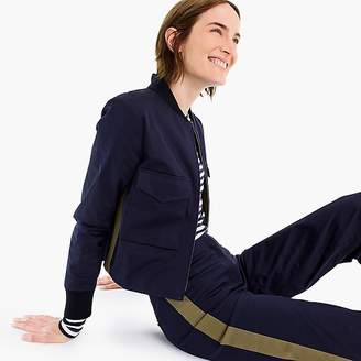 J.Crew Cropped bomber jacket with side stripes