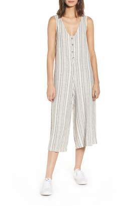 bb9200c9498 BP Button Front Stripe Linen Blend Jumpsuit