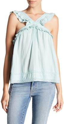 Melrose and Market Ruffle Trim Embroidered Sleeveless Blouse (Regular & Petite)