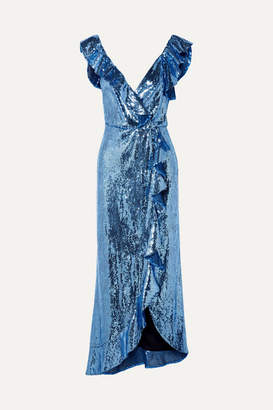 Monique Lhuillier Wrap-effect Ruffled Sequined Crepe Midi Dress - Blue