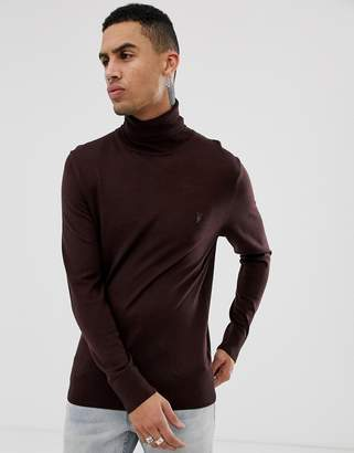 AllSaints Roll Neck Sweater In Beige 100% Merino With Logo