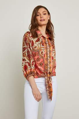 F&F Womens Coral Coral Paisley Tie Front Shirt - Red