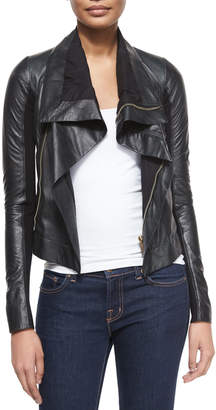 Rick Owens Shawl-Collar Leather Biker Jacket