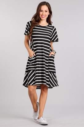 Chris & Carol Black/white Striped Dress