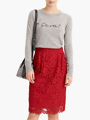 07e57b0472f315 at John Lewis and Partners · J.Crew Pintuck Lace Pencil Skirt