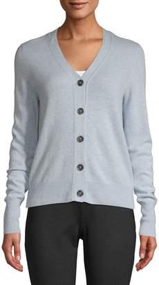 En Thread Long-Sleeve Button-Front Cardigan