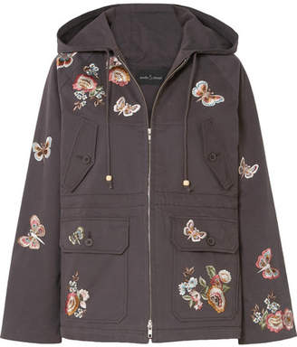 Needle & Thread Butterfly Rose Hooded Embroidered Cotton-blend Twill Jacket - Charcoal