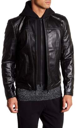 Slate & Stone Hooded Quilted Sleeve Leather Jacket