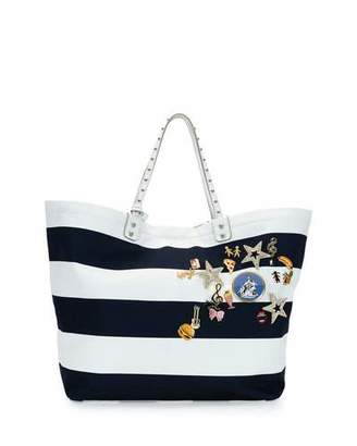 Dolce & Gabbana Marina Embellished Striped Tote Bag, Blue/White $2,645 thestylecure.com