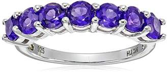 Amethyst Seven Stone Ring in Sterling Silver (4mm)